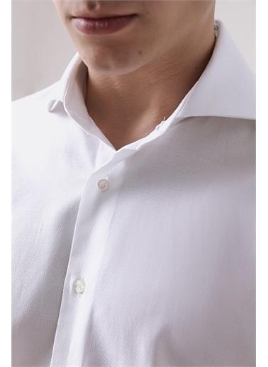 Damat Damat Slim Fit Mavi Gömlek Beyaz